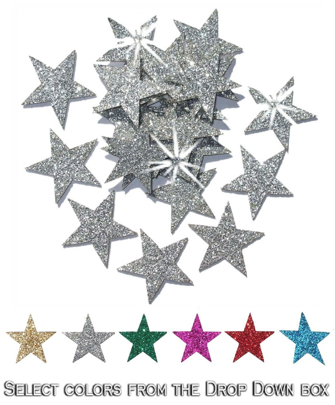 Green 2 Packs = 48 Fabric Glitter 1 Inch 25mm Stars Iron-On Fabric Transfer