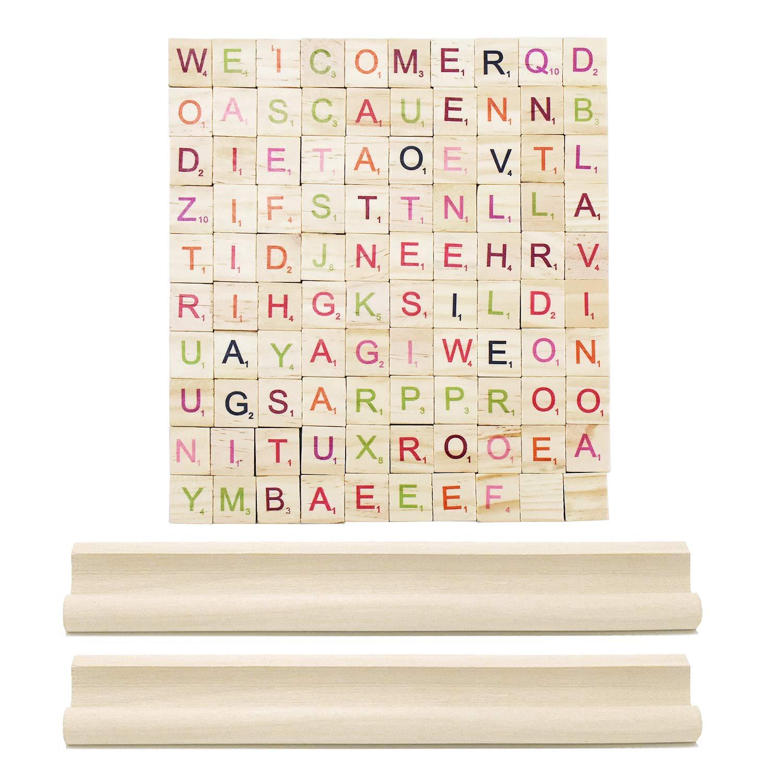 Gioco di Parole Incrociate Ortografia Scarabeo Alfabeto Scrabble Tile per Artigianato SANTOO 100 Pz Legno Scarabeo Lettere con 2 Lettera Rastrelliere per Bambini