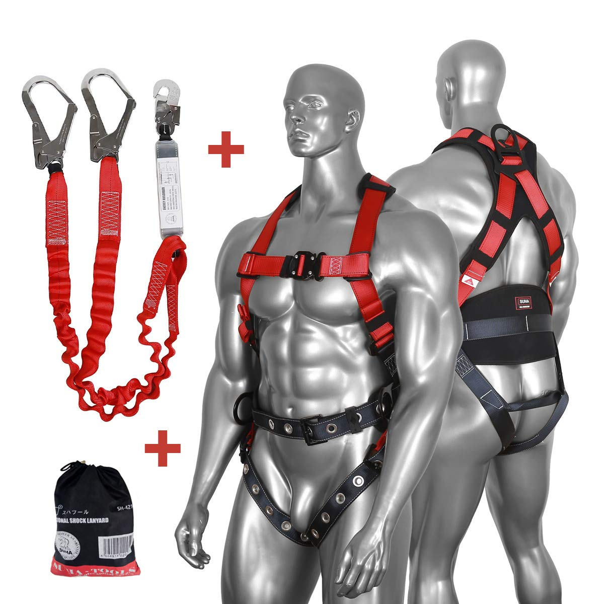 DCM Fall Arest Protection Universal Padded Safety Harness Kit with Shock Absorb Webbing Lanyard by SUHA