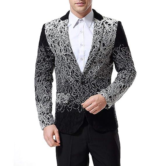 Lannister Fashion Blazer para Hombre Slim Fit Floral Single Breasted Chaqueta para Esmoquin Chaqueta Ropa Tejida Chaqueta Traje De Novia Chaquetas para ...