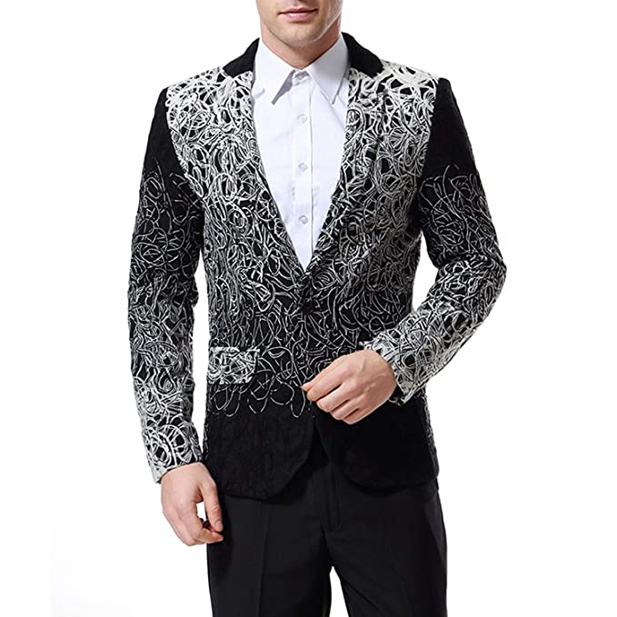 HaiDean Blazer para Hombre Slim Single Breasted Fit Floral ...