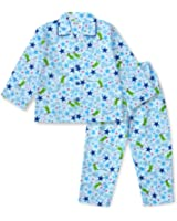 【ノーブランド品】 綿100% 長袖 キッズ パジャマ 春 秋 向け 恐竜とキラキラ星のパジャマ ボーイズ 110サイズ ブルー