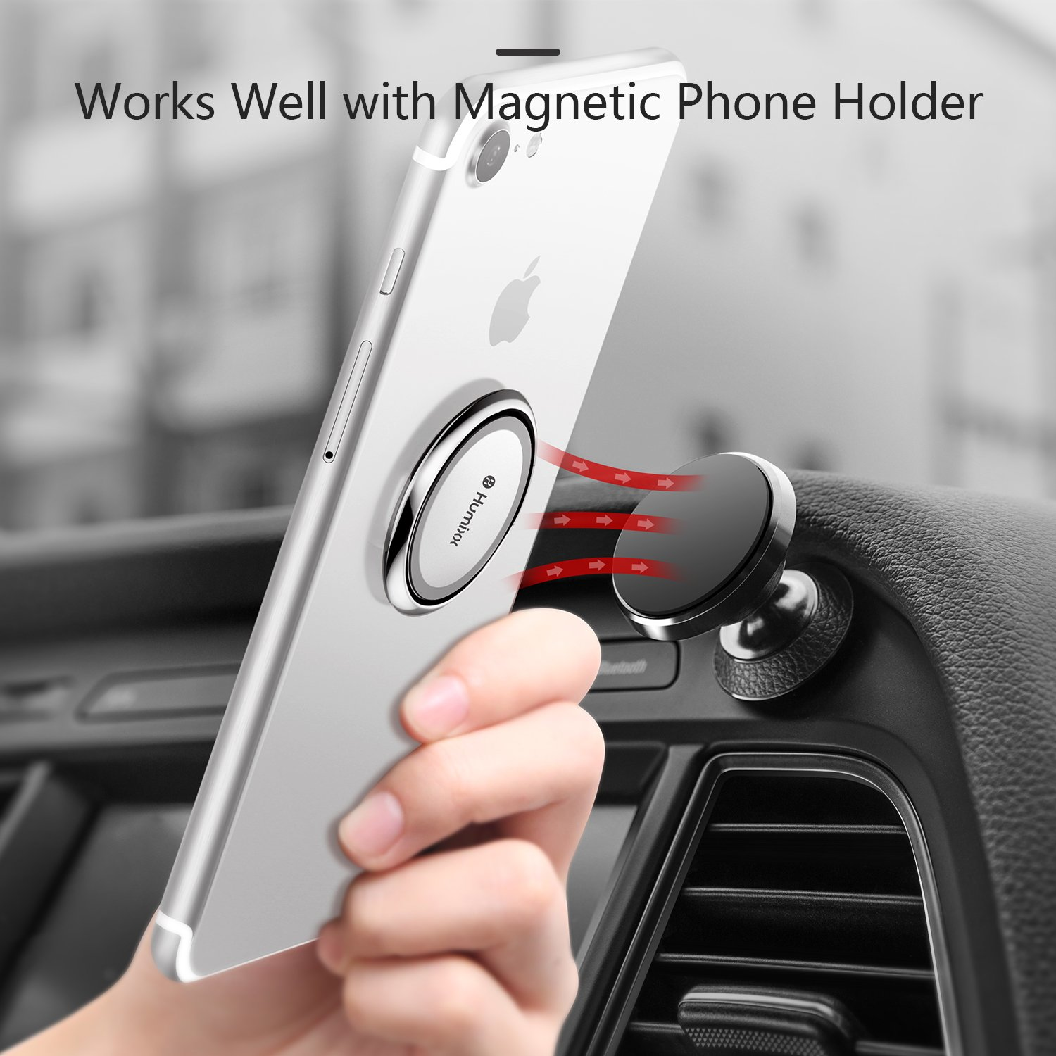 Huawei P30 etc. Samsung S10//S10 Plus Humixx Phone Ring Holder Universal Phone Ring Stand Fit Well with Magnetic Phone Mount Holder 360/° Rotation Compatible with iPhone 8 Plus//X//XR//XS Max