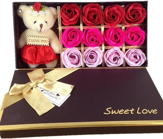Box For Wedding Valentine/'s Day Gift 50 Set Rose Bath Soap Flower Scented Petal
