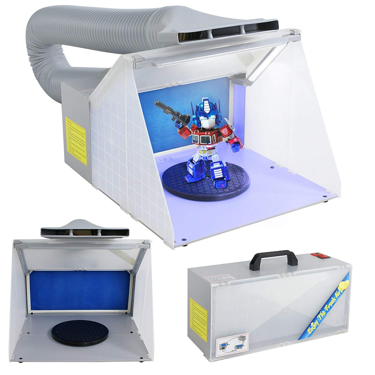 F2C Airbrush Spray Booth Kit Paint Craft Odor Extractory Hobby Spray Booth Portable W/LED Light Turn Table Powerful Fan for Toy Model Parts (Bonus Led Lights)