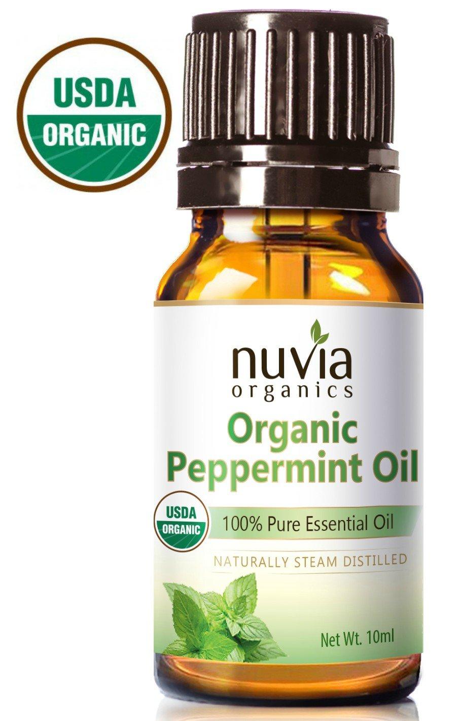 Nuvia Organics USDA Certified Peppermint Oil, 100% Pure Essential Oil, 10ml