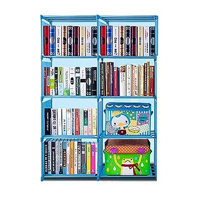 4 Tier 8 Bookshelf Office Home Furniture Organizer Storage Cabinet Bookcase (Blue): Kitchen & Dining