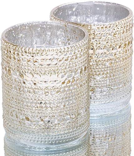 Richland Pearly Candle Holders Mercury Large Metallic Gold Set of 24