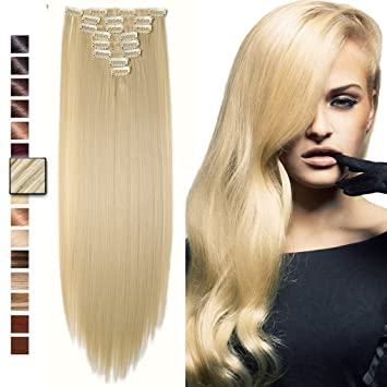 Amazon s noilite 23 straight curly bleach blonde full head s noilite 23quot straight curly bleach blonde full head clip in hair extensions pmusecretfo Image collections