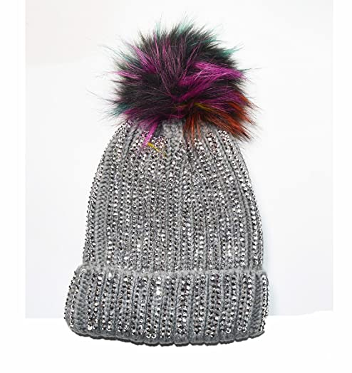 01bfdd85327 Luxury Knitted Diamante bobble hat with Faux fur pom Grey  Amazon.co.uk   Garden   Outdoors