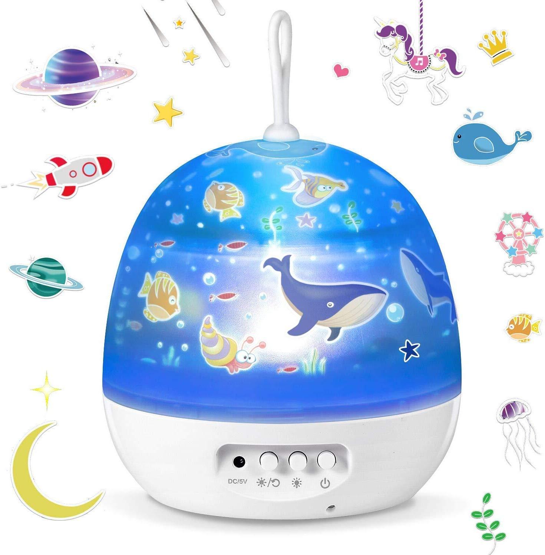 Star Night Lights for Kids - 4 Set Films 360 Degree Rotation Star Projector Night Light Projection Lamp, Romantic Moon Star Bedside Lamp Best for Children Baby Nursery Bedroom, Birthday Gifts