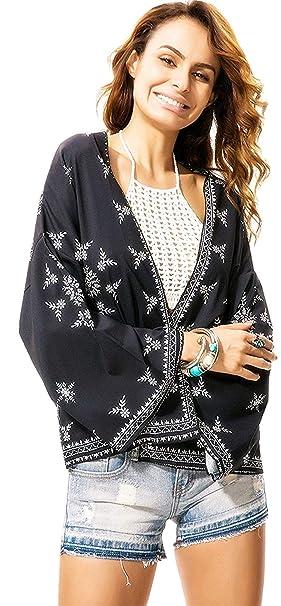 Kimono Mujer Manga Larga Anchos Aireado Delgado Verano Cardigan Vintage Elegantes Basic Moda Boho Etnica Estilo Floreadas Tunica Playa Mujer Blusas Bikini ...