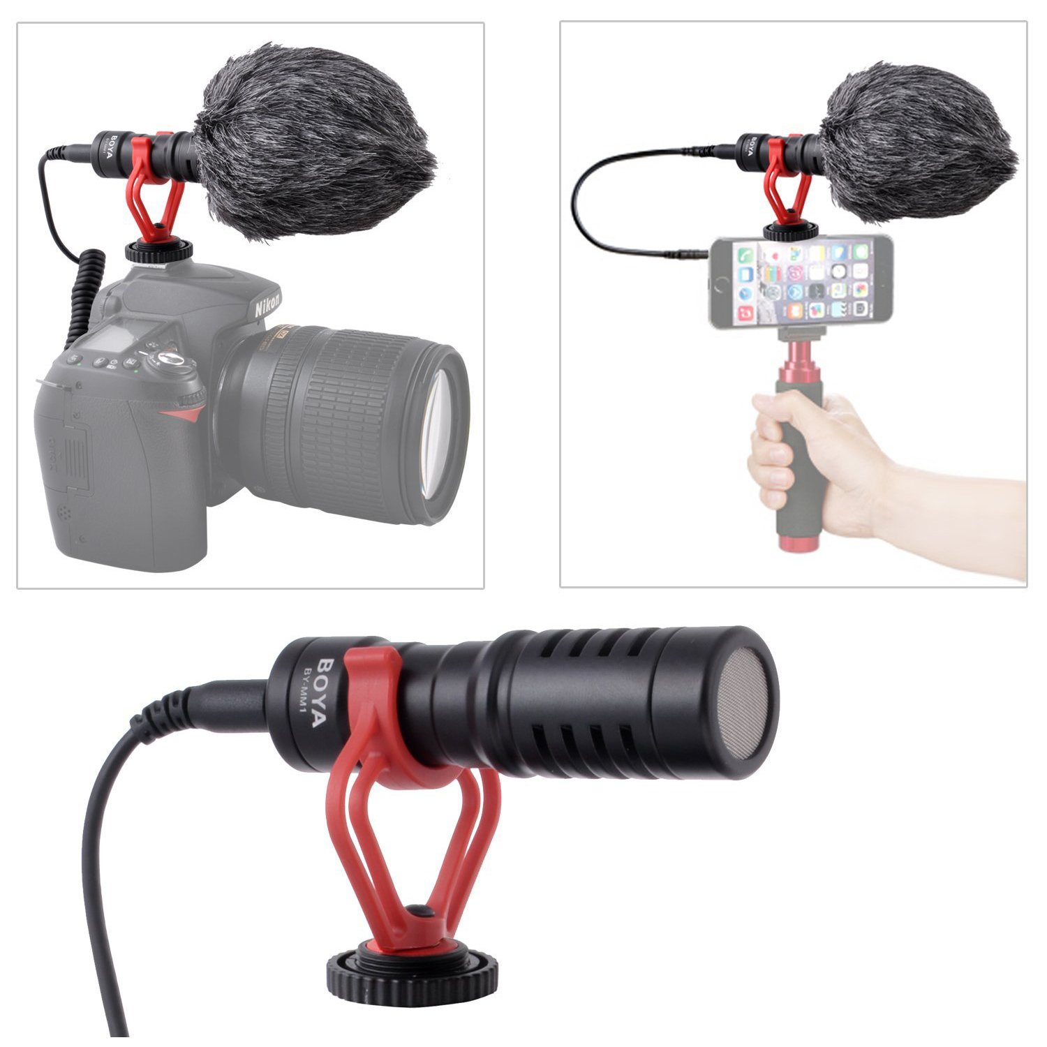 Crazefoto by-MM1 Super Cardioid Shotgun Video Microphone Universal Compact On-Camera Mini Recording Mic Directional Condenser Compatible with DSLR Camera Camcorder iPhone Smartphones