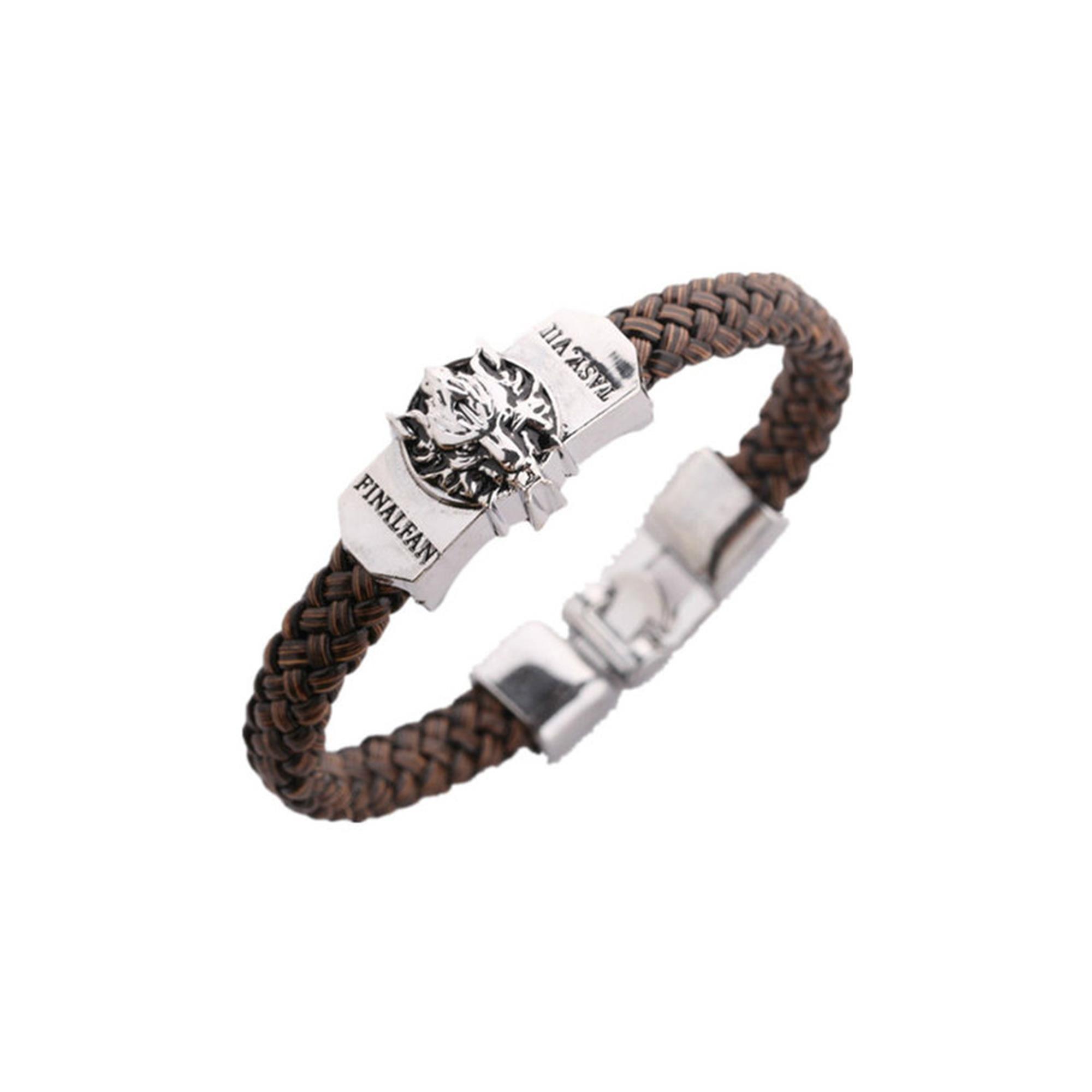 Athena Brand Game Final Fantasy VII Logo Leather Braided Bracelet In Gift Box