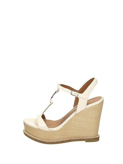 Emporio Armani White Patent Leather Raffia Wedge Sandals 35 White Patent 743aa372f1a