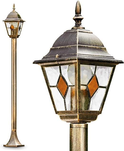 Lámpara exterior Antibes 110 cm acabado antiguo pantalla cristal - 1x 60W admite bombilla LED - Farola jardín IP44: Amazon.es: Iluminación