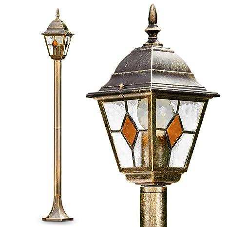 Lámpara exterior Antibes 110 cm acabado antiguo pantalla cristal - 1x 60W admite bombilla LED -
