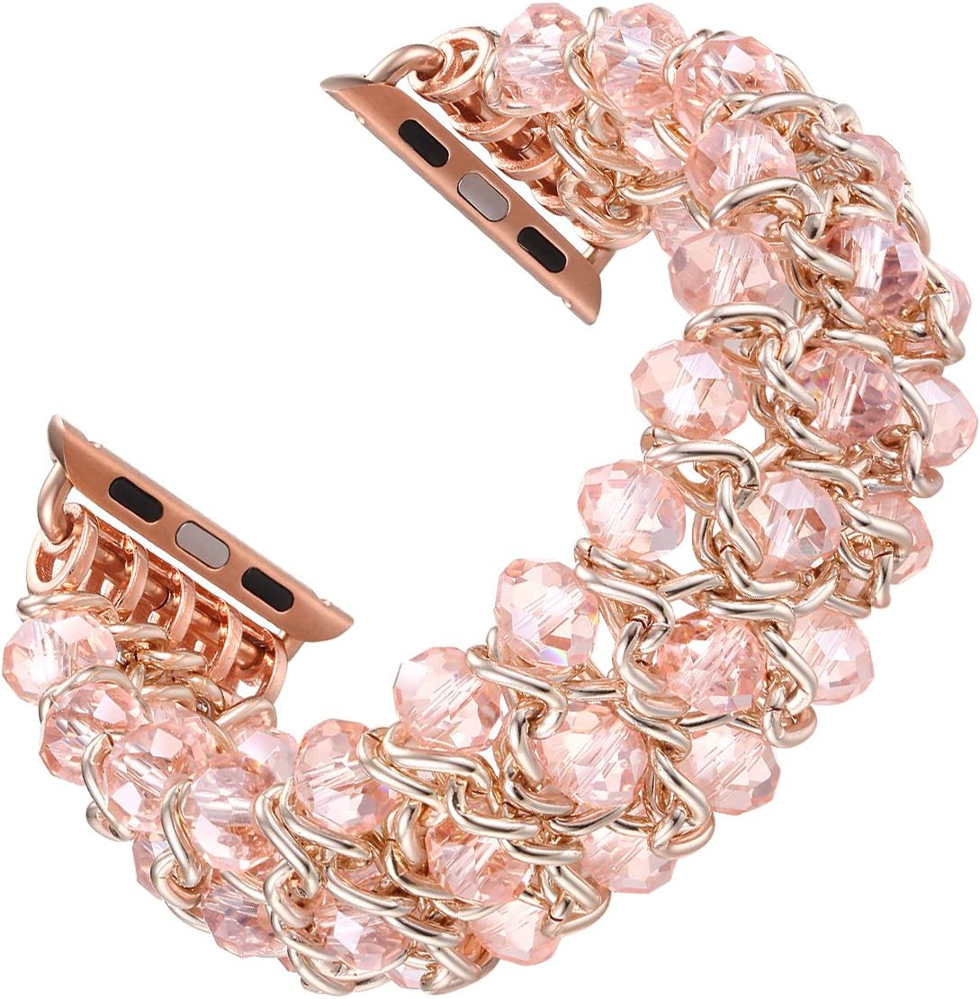 Fastgo Compatible for Bracelet Apple Watch Band 38mm 40mm Women, Elastic Stretchy Fashion Jewelry Replacement Strap with Pearls and Metal for Iwatch SE & Series 6 5 4 3 2 1, Pink(Pink Crystal - 38mm)