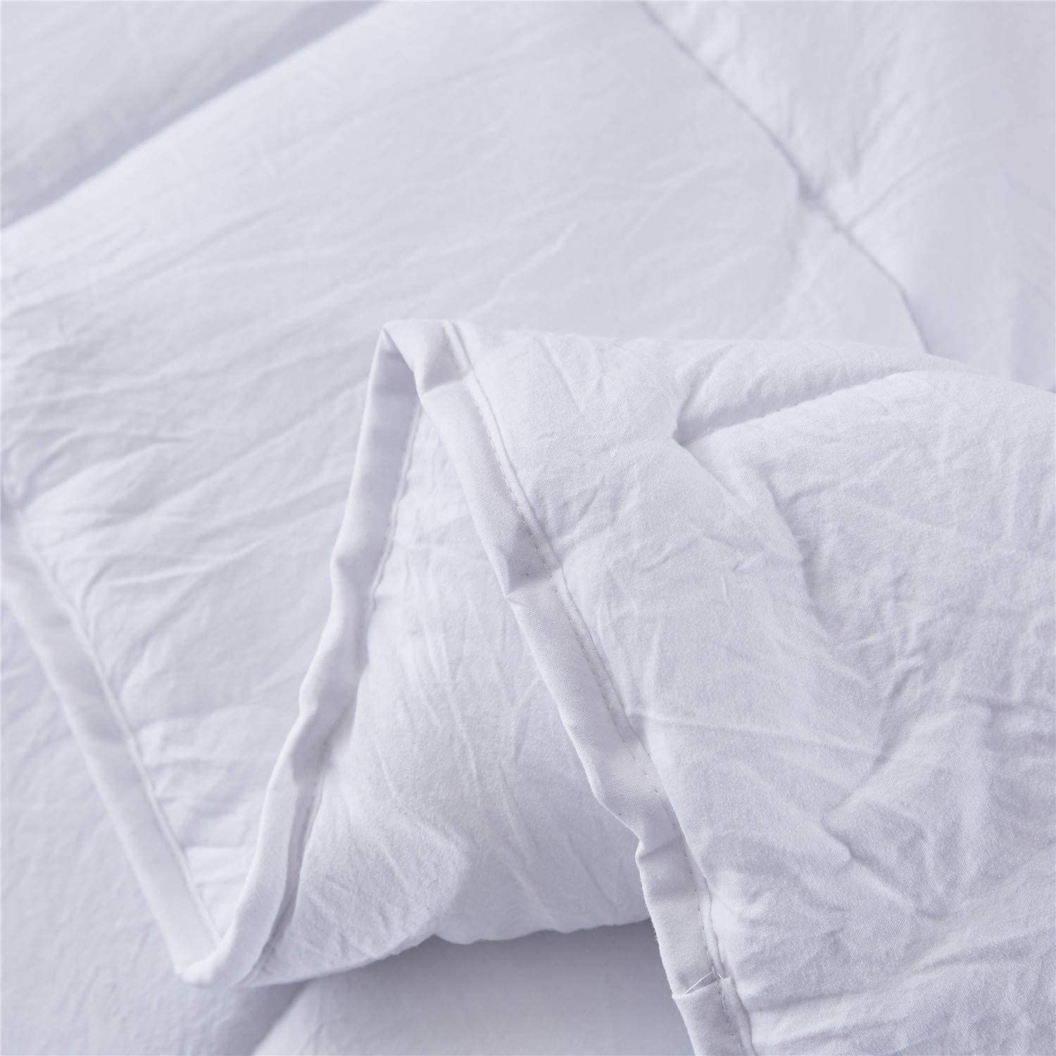 Pure White Duvet Comforter with 2 Pillow Shams Lightweight for All Season HIG Pre Washed Down Alternative Comforter Set Twin Box Stitched with 4 Corner Tabs Reversible Shabby Chic Quilt Desgin