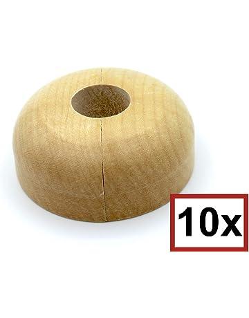 madera maciza haya 22 mm; protectoras radiador// rosetas// cubiertas madera de arce roble 19mm, haya para tubo di/ámetros: 15 mm 19 mm 6 Piezas de rosetones para tubos de calefacci/ón