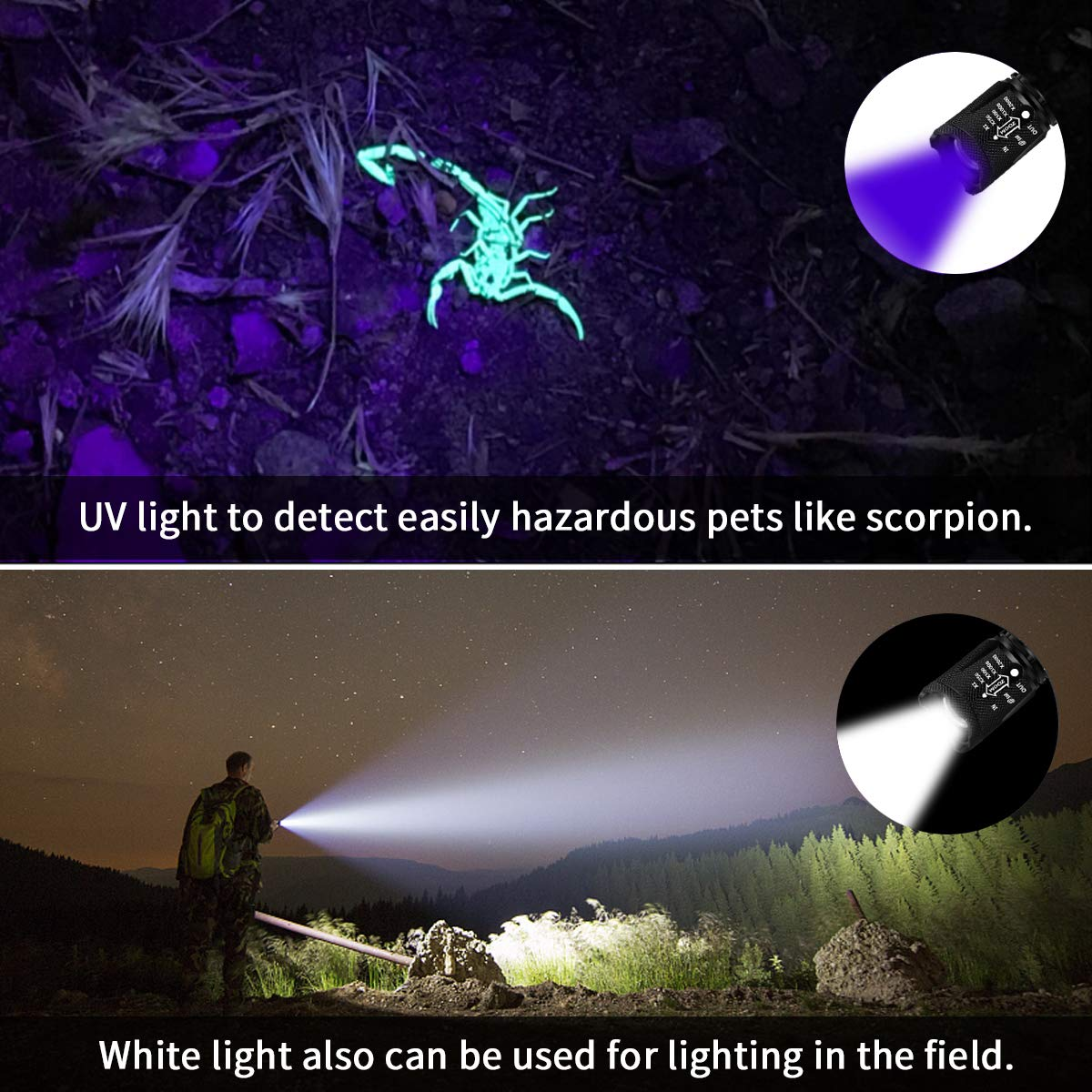 Lampe de Poche Tactique et Lampe UV, 2 en 1 Lampe Torche led 500 Lumens Puissante, 4 Modes Zoomable, 350m de Distance avec 395nm Lumière Ultraviolet, pour Le Camping, D\'urgence(2 PCS)