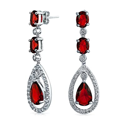 b8226e5d2 Simulated Ruby Cubic Zirconia Halo Red CZ Teardrop Statement Dangle Earrings  For Women Pageant Silver Plated