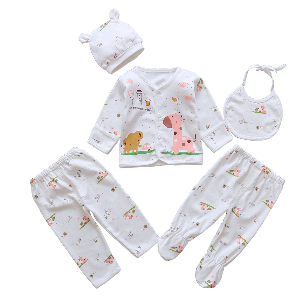 5pcs Newborn Baby Boy Girl Clothes Sets Unisex Infant Outfits Animals C00001-Pink