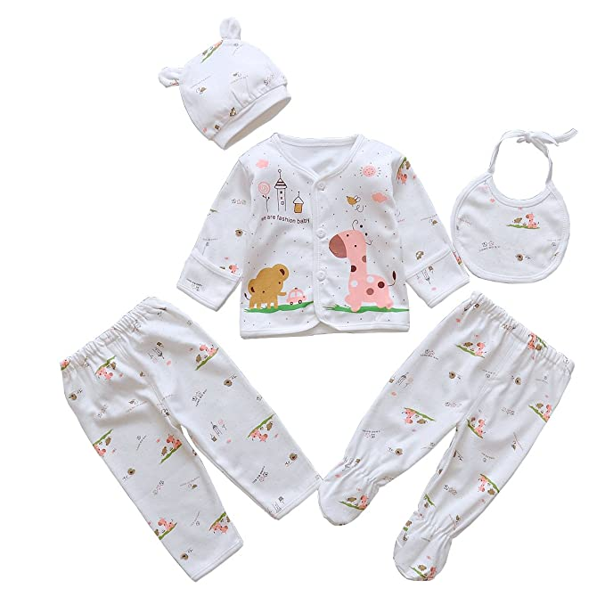 20f5a731d171 5pcs Newborn Baby Boy Girl Clothes Sets Unisex Infant Outfits with Animals  (Pink)