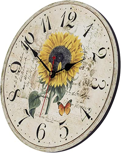 Home Decor Clock, Colorful Retro Arabic Numerals Style,Silent Non -Ticking Quartz Wooden Wall Clock, Large Wall Art Decorative for Kitchen,Living Room,Kids Room and Coffee Decor 12 Inch, Sunflower