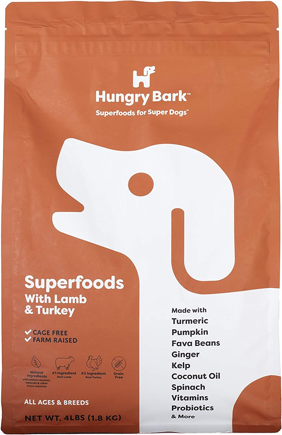 Hungry Bark - Premium Dry Dog Food with Superfoods | for Small & Large Dog Breeds | Real Meat Proteins & Probiotics | Ultra Fresh Resealable Metallic Coated Bag