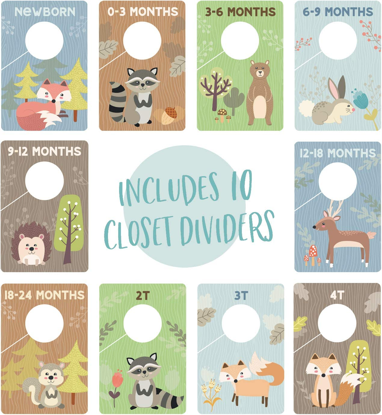 Woodland Closet Clothing Size Dividers//Closet Organizer for Baby Clothes Newborn to 4T Forest Animal Baby Closet Size Dividers