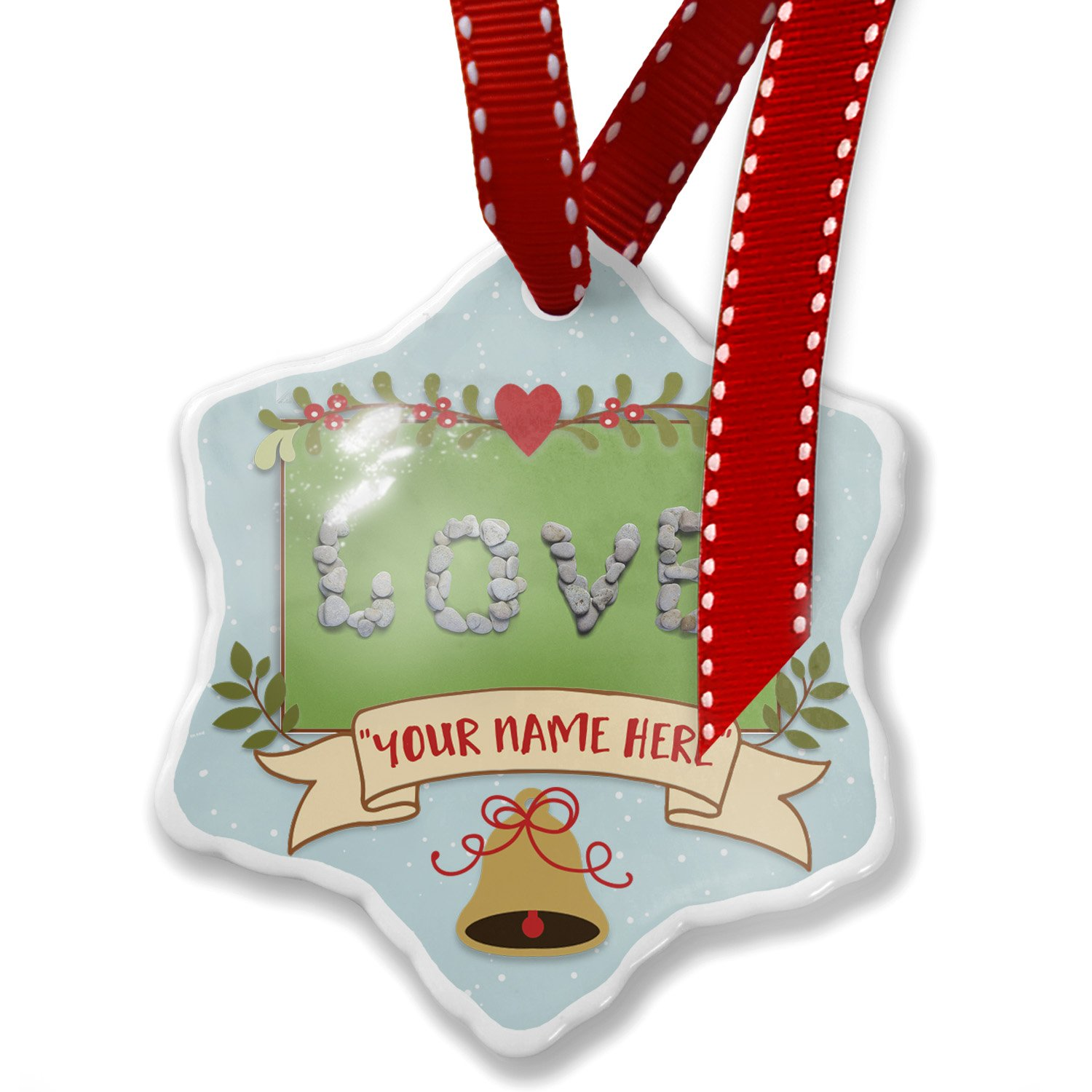 Add Your Own Custom Name, Love Spa Stones Christmas Ornament NEONBLOND