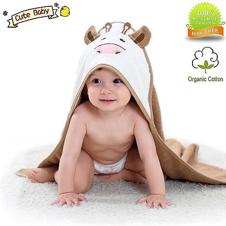 Toalla de algodón orgánico con capucha para bebé, toalla de baño de ...