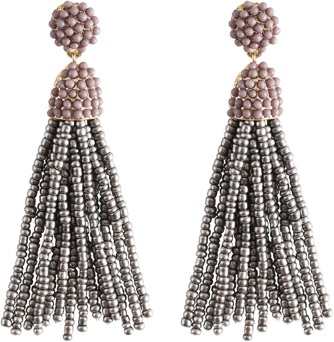 Black White Gold earrings Seed Beaded tassel earrings Oscar de la Renta style Long tassel Clip on earrings Statement Shiny Drop earrings