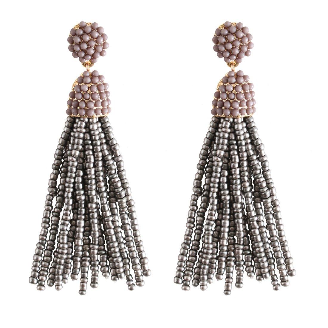 Amazon.com  NLCAC Women s Beaded tassel earrings Long Fringe Drop Earrings  Dangle 6 Colors (Grey)  Jewelry f294e38351