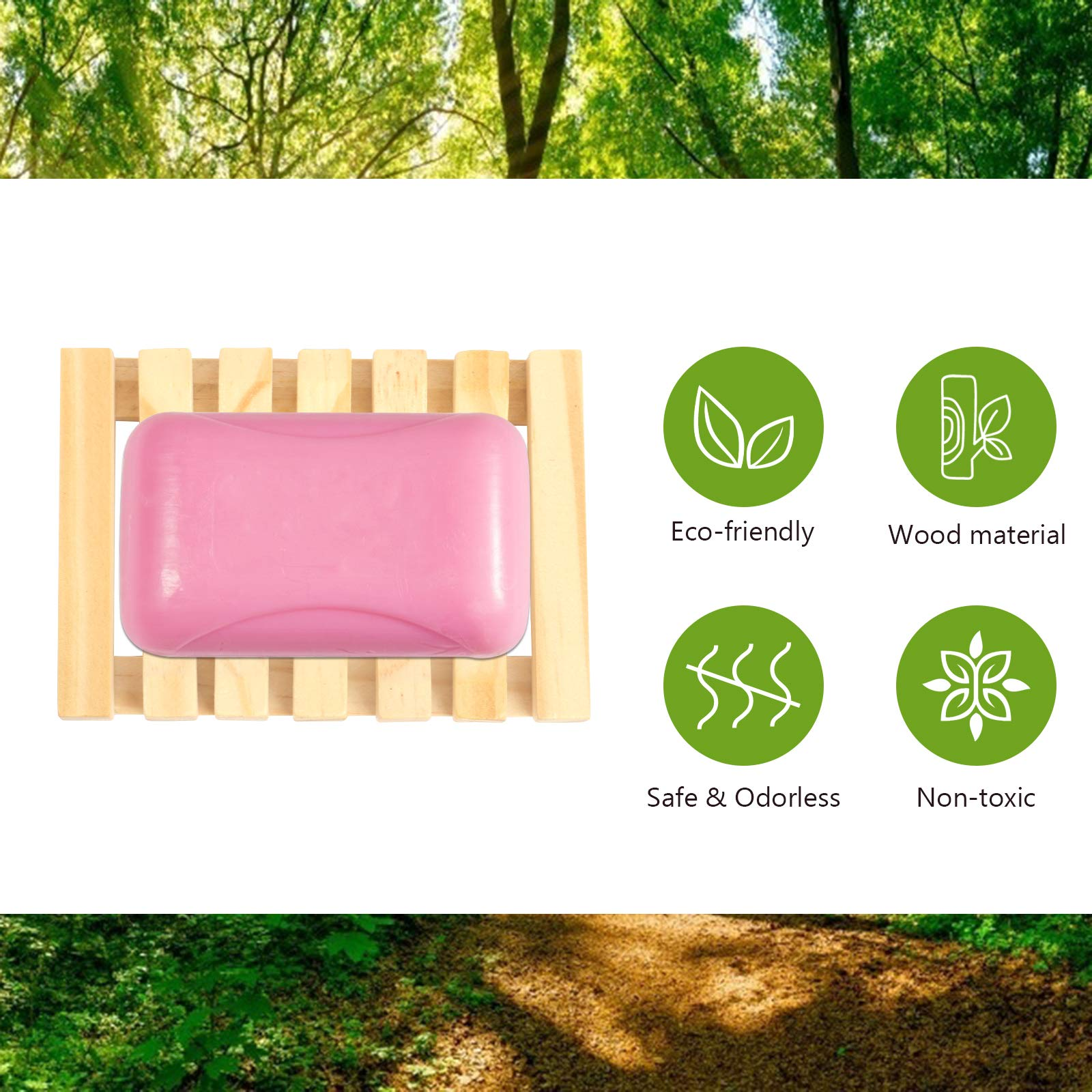 TAZEMAT 2pcs Wooden Soap Dish and 2pcs Natural Soap Bags with Drawstring Flax Linen Sisal Soap Pouch Bamboo Soap Holder Box Container Saver Tray Plate for Bathroom Kitchen Shower