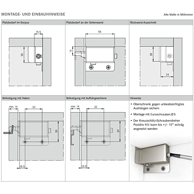 SO-TECH® Schrankaufhänger 200 kg Schrankaufhängung Schrankhalter Oberschrank