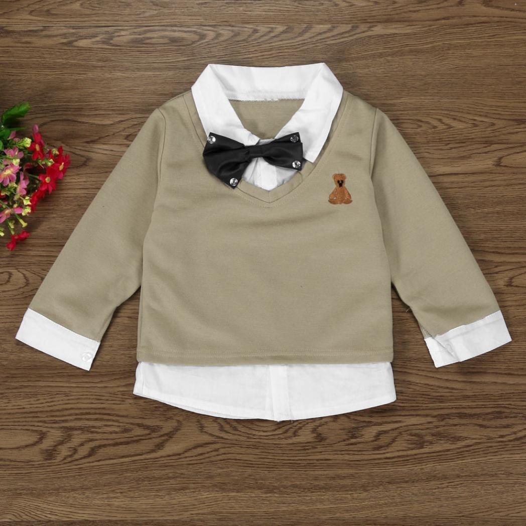 TONSEE 2 Pcs//set Kids Baby Boy Long Sleeve False Two Pieces Shirt Tops+Pants