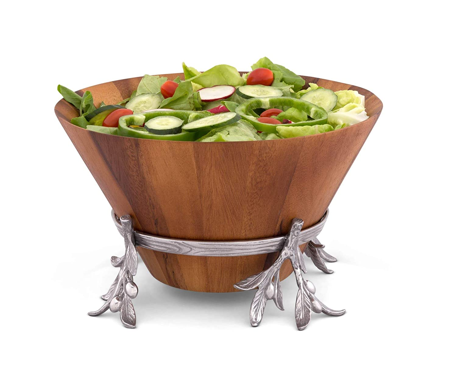 """Arthur Court Acacia Wood Salad Bowl in Metal Stand, 7"""" tall, Sand-Cast Aluminum Stand in Olive Pattern"""
