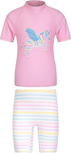 Mountain Warehouse Bedrucktes Kinder Bade-Set dehnbar Rash Guard f/ür M/ädchen und Jungen UV-Schutz Shorts /& Badeshirt