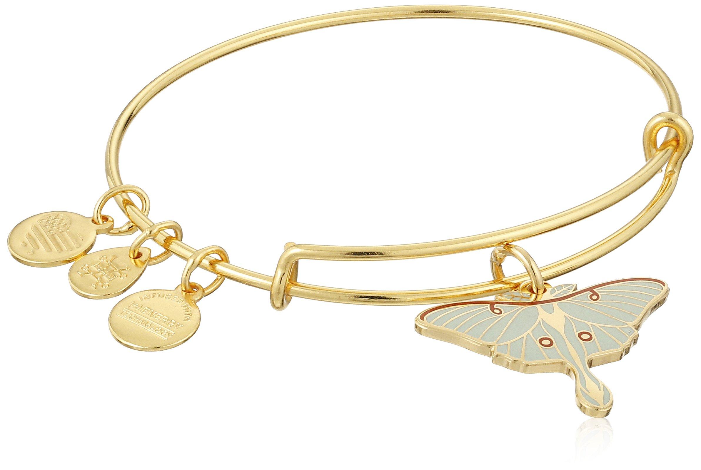 Alex and Ani Luna Moth Expandable Rafaelian Gold-Tone Bangle Bracelet