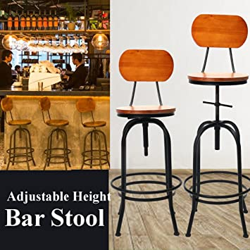 CAVEEN Industrial Style Adjustable Height Metal Swivel Bar Stool Retro  Vintage Kitchen Counter Chair With Backrest