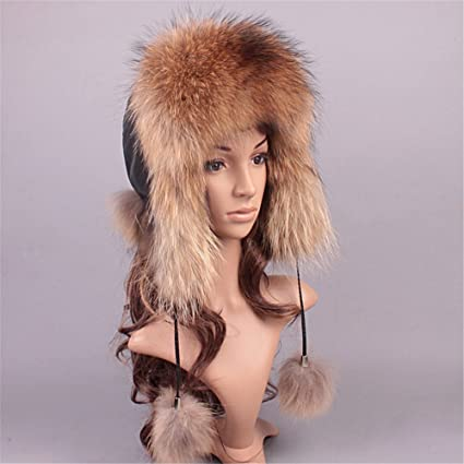 b14ba525827 Amazon.com  Roniky Women s Real Fox Fur Russian Trooper Ushanka Hat Winter  Fur Hat with Ear Flaps  Clothing