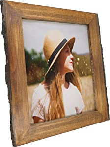 IKEREE 8.5x11 Picture Frames with Bark Edges, Rustic Wood Photo Frame for Tabletop or Wall Display, Natural Brown