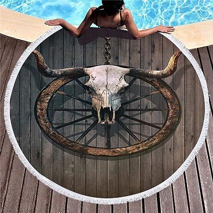 Stillshine Redondo Microfibra Toalla Playa con Flecos, ecofriendly, 150cm Grande Toalla Multi-funzionale