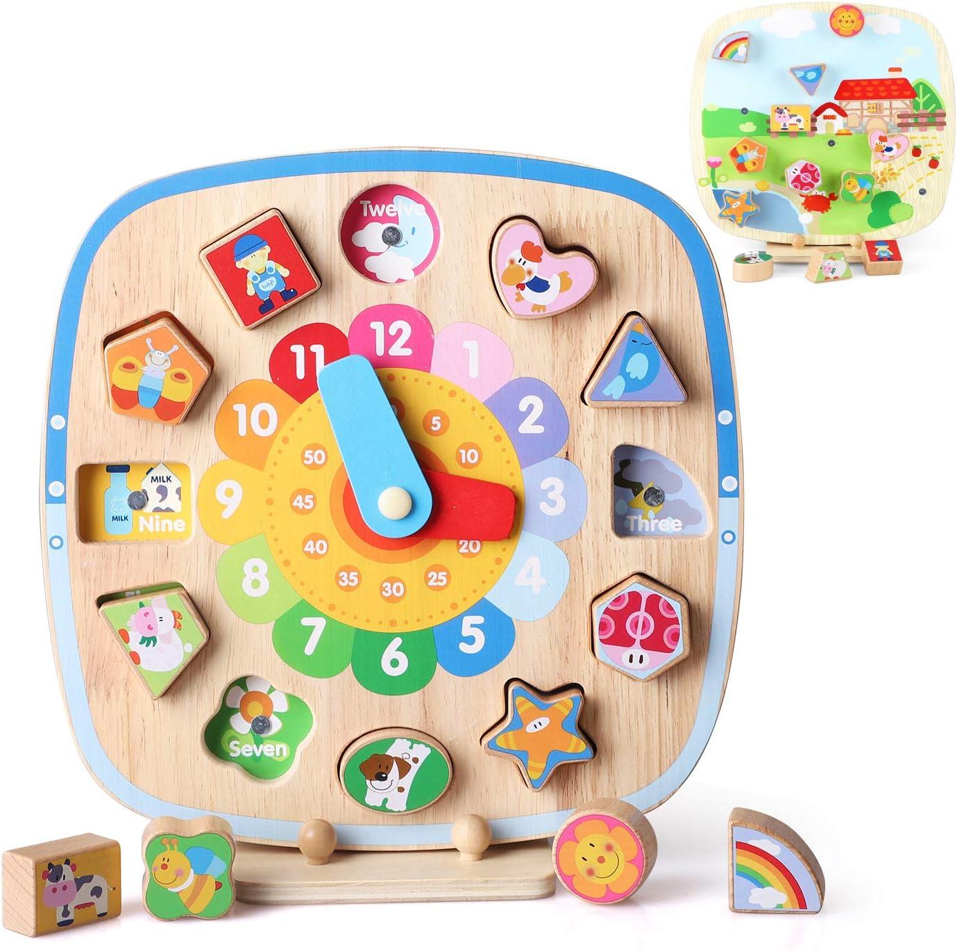 BeebeeRun Reloj de Madera Juguete 5 en 1 Enseñanza educativa Aprendizaje Reloj con Forma Clasificación de Colores Rompecabezas y números para niños y niñas Niños pequeños Bebés Niños 1 2 3 4 años