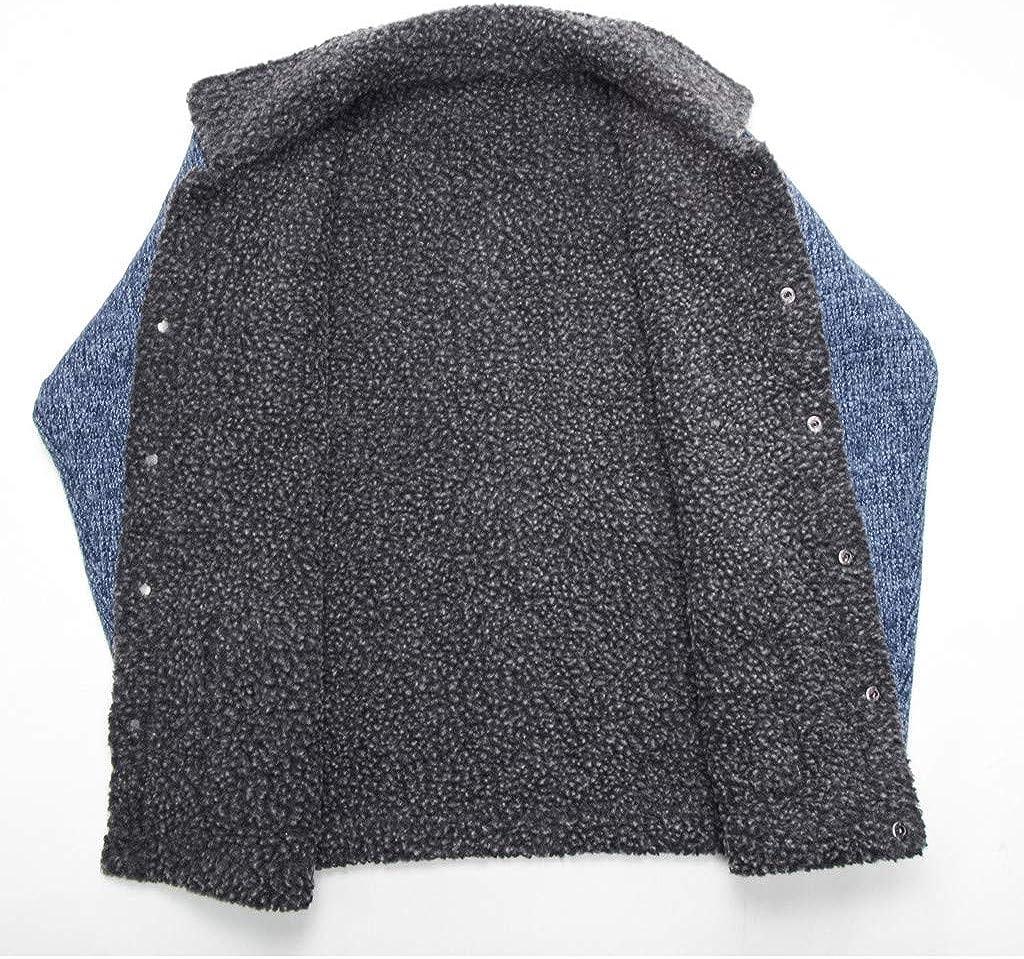 MEANIT Mens Winter Windbreaker Jacket,Fashion Knit Casual Lamb Hair Thickening Slim Coat