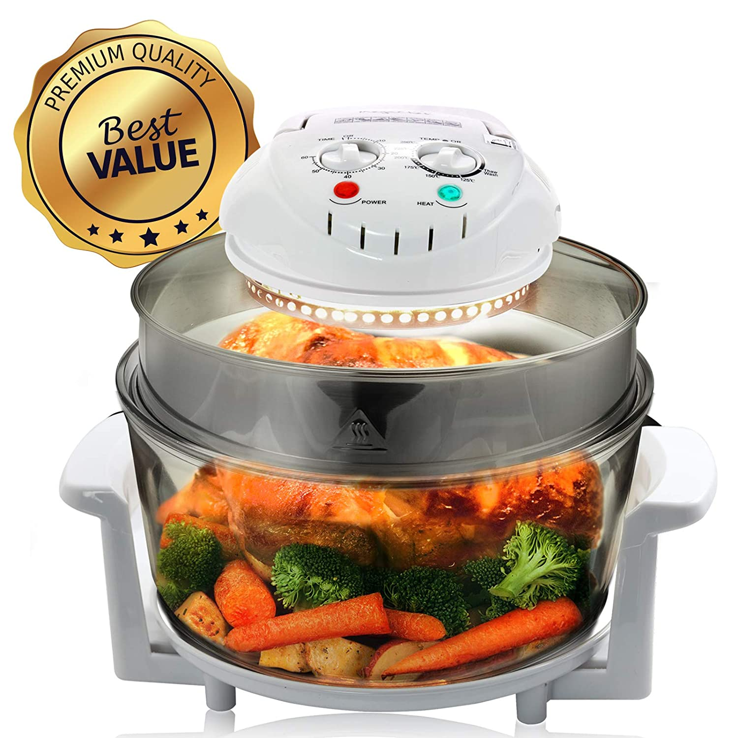 Megachef 930111879M Multipurpose Halogen Oven Air fryer in White, 13 quart
