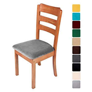 smiry Original Velvet Dining Chair Seat Covers, Stretch Fitted Dining Room Upholstered Chair Seat Cushion Cover, Removable Washable Furniture Protector Slipcovers with Ties - Set of 4, Grey
