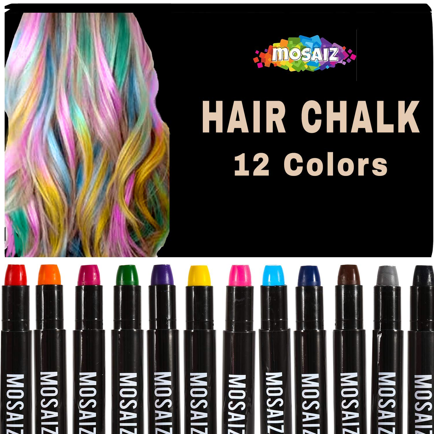 Christmas Gifts For Girls Age 9 10.Hair Chalk For Girls And Boys 12 Colors With Black And Brown